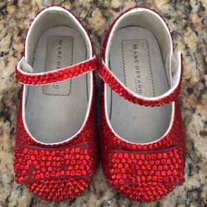 Baby size 6 red sparkling dress shoes